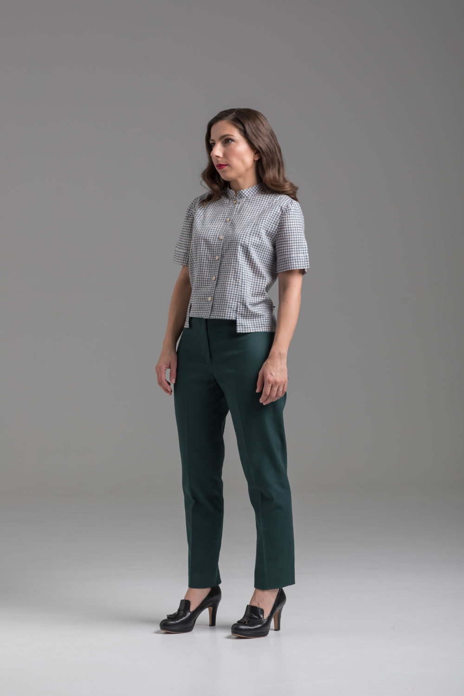 Patron de pantalon taille haute Ecorce vert