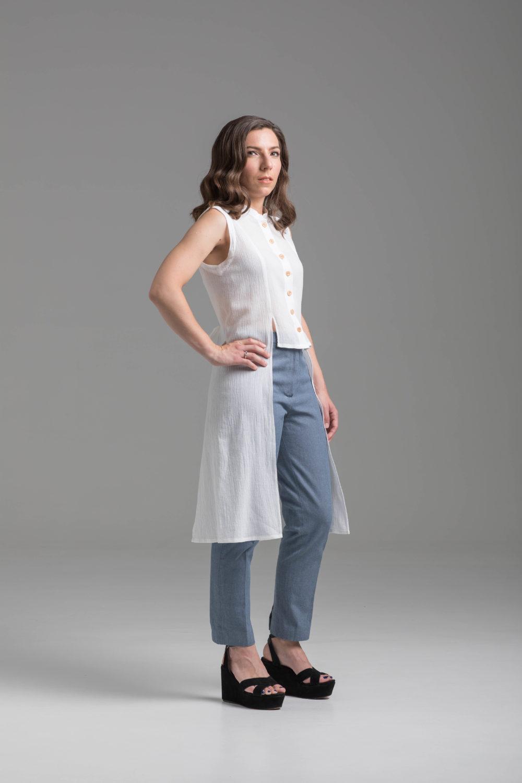 Shirt & shirt dress pattern camimade feuillage white